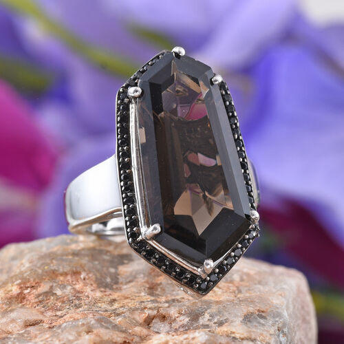 GP Brazilian Smoky Quartz, Boi Ploi Black Spinel and Kanchanaburi Blue Sapphire Ring in Platinum Overlay Sterling Silver 14.500 Ct.