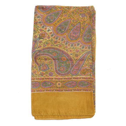 100% Mulberry Silk Multi Colour Floral and Paisley Pattern Chocolate Colour Scarf (Size 180x100 Cm)