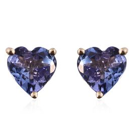 9K Yellow Gold 1.35 Ct AA Tanzanite Heart Stud Earrings (with Push Back)