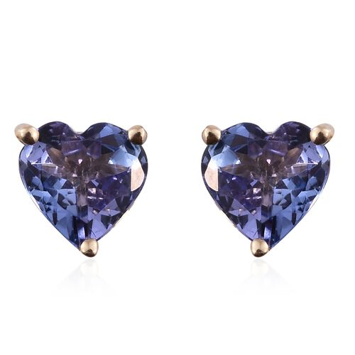9K Yellow Gold AA Tanzanite (Hrt) Stud Earrings (with Push Back) 1.350 Ct.