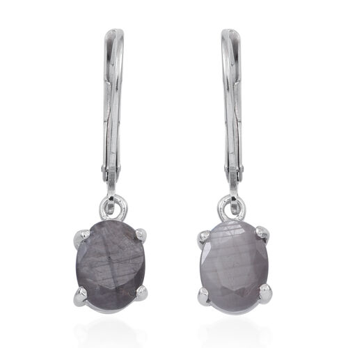 Natural Silver Sapphire (Ovl) Lever Back Earrings in Rhodium Plated Sterling Silver 4.000 Ct.