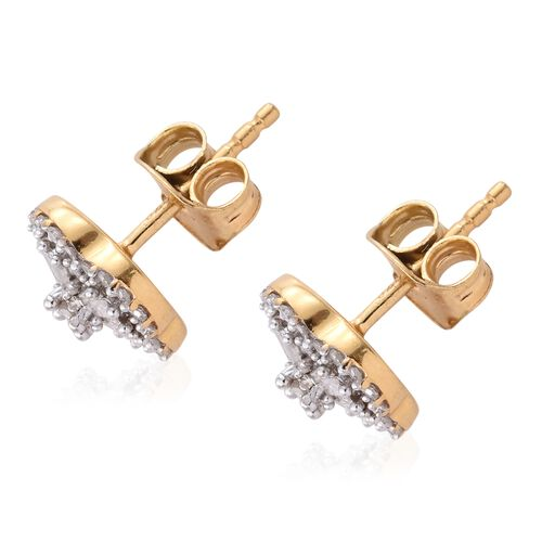 Diamond (Rnd) Flower Stud Earrings (with Push Back) in 14K Gold Overlay Sterling Silver 0.500 Ct.
