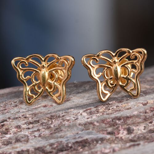 14K Gold Overlay Sterling Silver Butterfly Stud Earrings (with Push Back), Silver wt. 2.17 Gms.