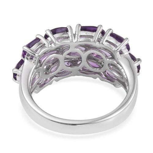 Lusaka Amethyst (Ovl) Cluster Ring in Platinum Overlay Sterling Silver 5.500 Ct.