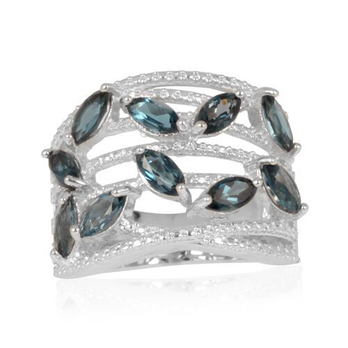 London Blue Topaz (Mrq) Ring in Rhodium Plated Sterling Silver 3.000 Ct.