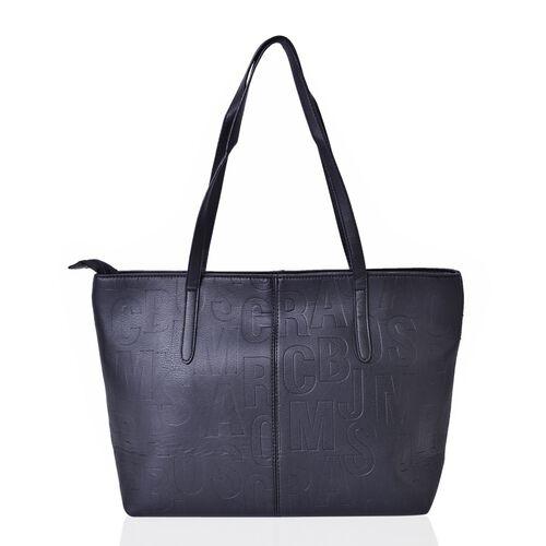 Italian Designer Inspired Embossed Black Colour Tote Bag (Size 45x33x28x12 Cm)