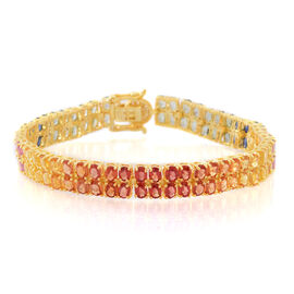 Buyer Special Deal - AA Multi Sapphire (Ovl), White Zircon Bracelet (Size 7.5) in 14K Gold Overlay Sterling Silver 20.500 Ct.