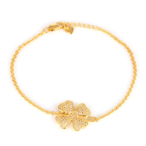 ELANZA AAA Simulated Diamond (Rnd) Flower Bracelet in 14K Gold Overlay Sterling Silver (Size 7.5 with 1 inch Extender)