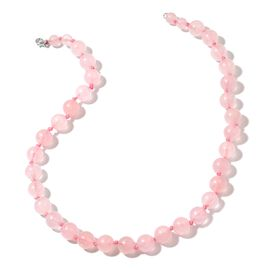 Super Auction- Rare Size Galilea Rose Quartz (Rnd 12-8mm) Graduated Necklace (Size 20) in Rhodium Plated Sterling Silver 394.500 Ct.