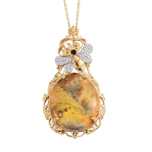 Bumble Bee Jasper, Boi Ploi Black Spinel and White Diamond Pendant With Chain in 14K in Gold Overlay Sterling Silver 45.500 Ct.