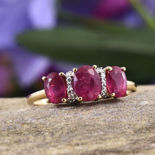 African Ruby (Ovl 0.75 Ct) 3 Stone Ring in Yellow Gold Overlay Sterling Silver 1.900 Ct.