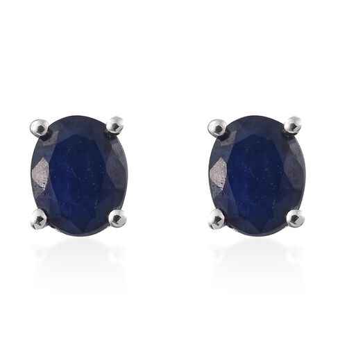 Kanchanaburi Blue Sapphire (Ovl) Stud Earrings (with Push Back) in Platinum Overlay Sterling Silver