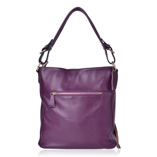 Premium Collection Genuine Leather Purple Colour Tote Bag with External Zipper Pocket (Size 29X27X10 Cm)