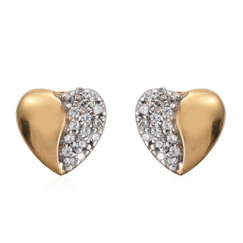 J Francis - 14K Gold Overlay Sterling Silver (Rnd) Heart Stud Earrings (with Push Back) Made with SWAROVSKI ZIRCONIA