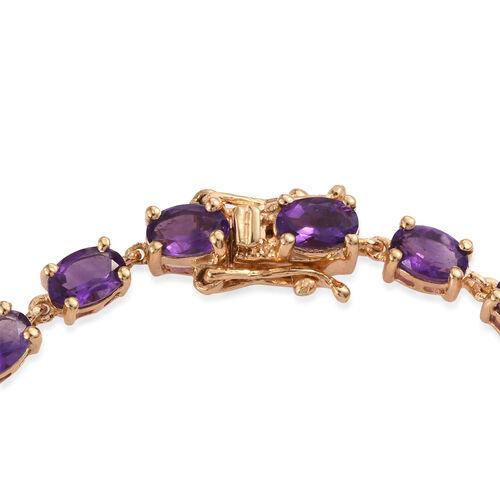 AA Lusaka Amethyst (Ovl) Tennis Bracelet (Size 7.5) in 14K Gold Overlay Sterling Silver 9.000 Ct.