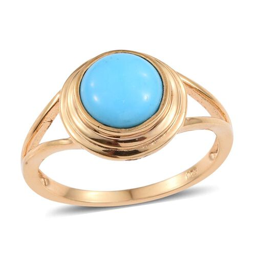 Arizona Sleeping Beauty Turquoise (Rnd) Solitaire Ring in 14K Gold Overlay Sterling Silver 2.000  Ct.