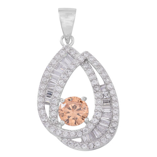 Signature Collection-ELANZA AAA Simulated Champagne Diamond (Rnd), Simulated Diamond Pendant in Rhodium Plated Sterling Silver, Silver wt 3.19 Gms.