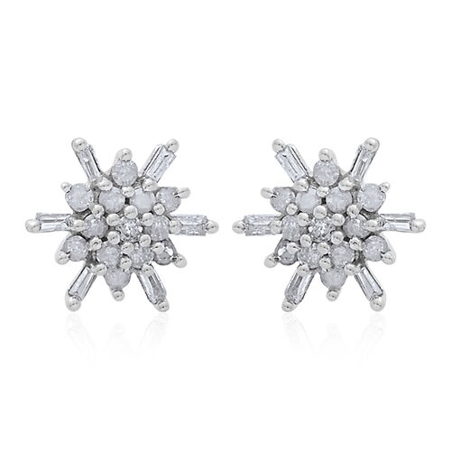 9K W Gold SGL Certified Diamond (Rnd) (I3/G-H) Starburst Stud Earrings (with Push Back) 0.250 Ct.