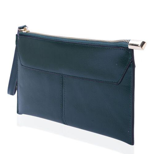 Grain Leather Green Colour Purse with External Zipper Pocket (Size 20.5x11 Cm)
