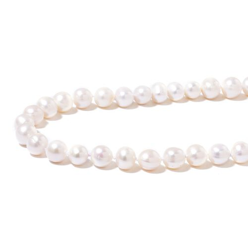 Hand Knotted Fresh Water High Double Lustre White Pearl (Rnd 11-12 mm) Bead Necklace (Size 38)