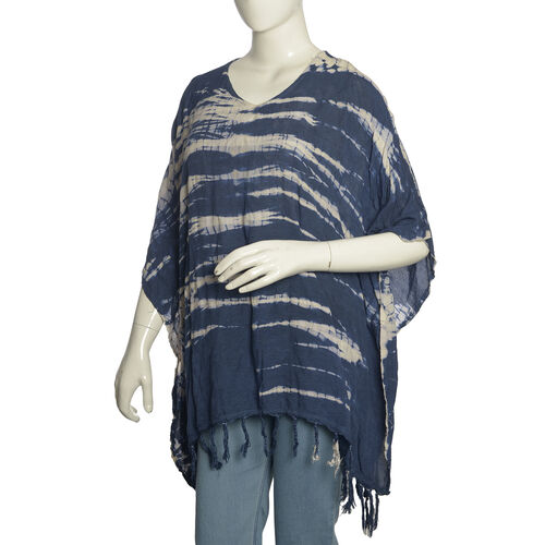 Summer Collection- V Neck Blue Colour Poncho/Beach Cover Up with Tassels (Free Size)