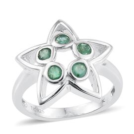 Kimberley Lotus Spice Collection - Kagem Zambian Emerald (Rnd) 5 Stone Star Ring in Platinum Overlay Sterling Silver