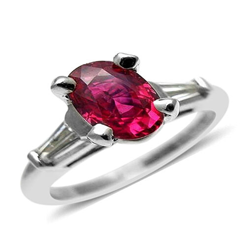 9K W Gold Burmese Ruby (Ovl 1.00 Ct), Natural Cambodian White Zircon Ring 1.250 Ct.