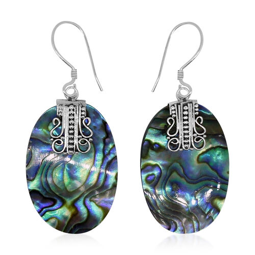 Royal Bali Collection Abalone Shell Hook Earrings in Sterling Silver 18.000 Ct.