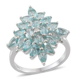 Paraibe Apatite (Ovl), Diamond Cluster Ring in Platinum Overlay Sterling Silver 4.510 Ct.
