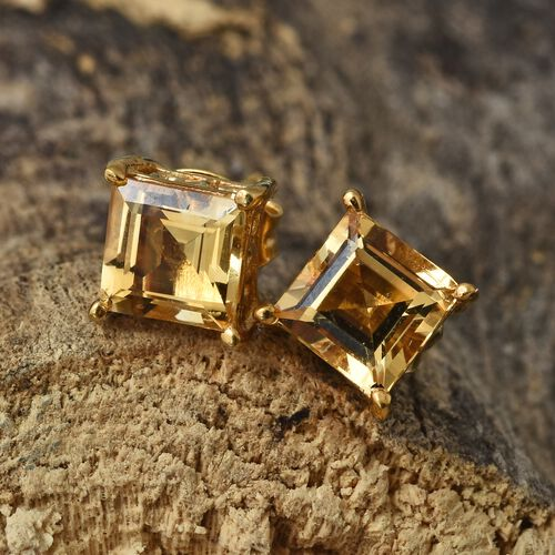 Citrine (Sqr) Stud Earrings (with Push Back) in 14K Gold Overlay Sterling Silver 2.000 Ct.