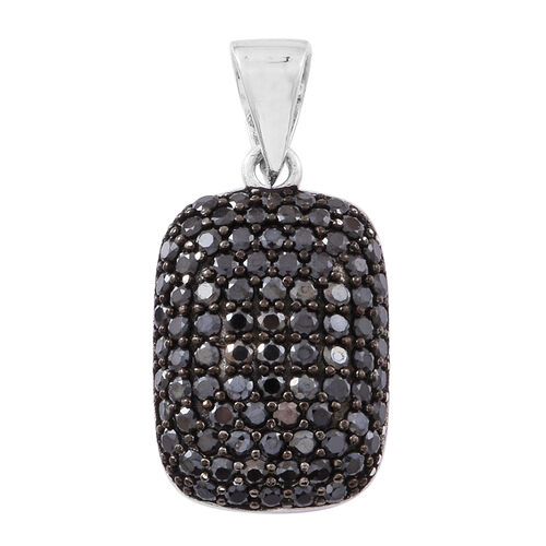Boi Ploi Black Spinel (Rnd) Pendant in Rhodium Plated Sterling Silver 2.500 Ct.