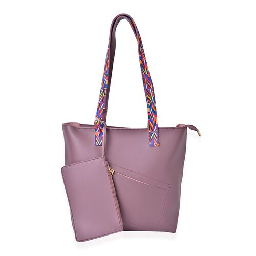 Plum Colour Handbag (Size 41X29.5X27.5X13 Cm) with Multi Colour Shoulder Strap and Pouch (Size 20X12.5 Cm)