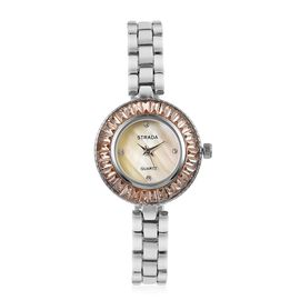 STRADA Japanese Movement Champagne MOP Dial with White Austrian Crystal Studded and Simulated Champagne Diamond Water Resistant Watch in Silver Tone with Chain Strap