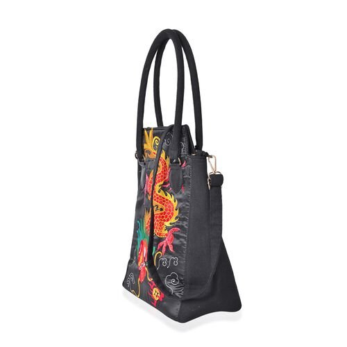 Shanghai Collection - Black, Yellow and Multi Colour Dragon Pattern Tote Bag with Adjustable Shoulder Strap (Size 33.5x24x12.5 Cm)