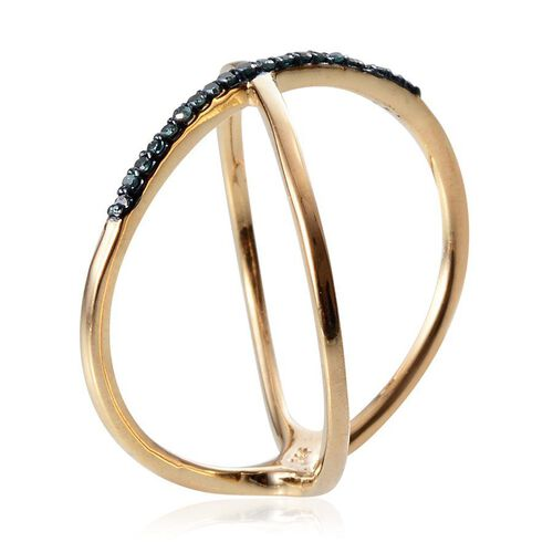 Blue Diamond (Rnd) Criss Cross Ring in 14K Gold Overlay Sterling Silver 0.100 Ct.