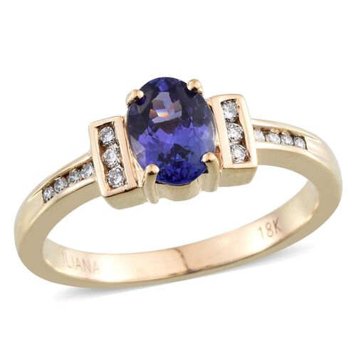 ILIANA 18K Y Gold AAA Tanzanite (Ovl 1.00 Ct), Diamond Ring 1.150 Ct.