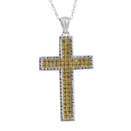 Yellow Diamond (Rnd) Cross Pendant with Chain in Rhodium Plated Sterling Silver 0.250 Ct.