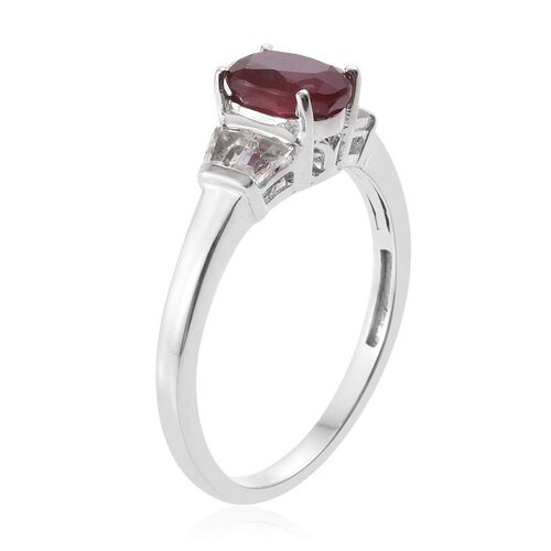 African Ruby and White Topaz 2.25 ct. Silver Ring in Platinum Overlay