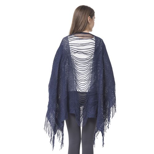 Designer Inspired - Navy Colour Poncho (Free Size)