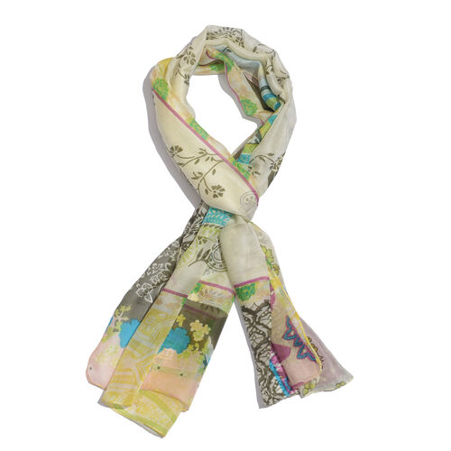 SILK MARK - Made in Kashmir 100% Silk Multi Colour Floral and Paisley Pattern White Colour Scarf (Size 180x50 Cm)