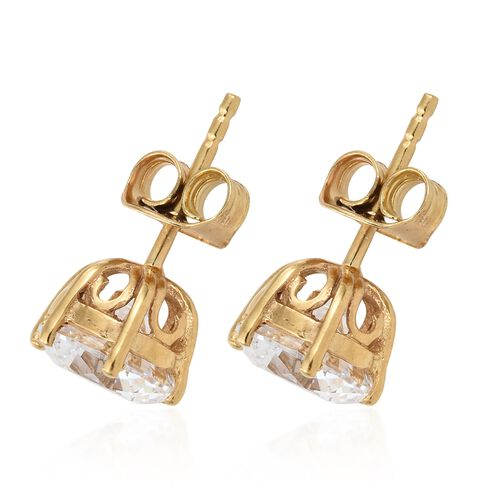 J Francis - 14K Yellow Gold Overlay Sterling Silver (Rnd) Stud Earrings (with Push Back) Made with SWAROVSKI ZIRCONIA (Equivalent Ct. wt 4.080)