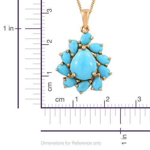 Arizona Sleeping Beauty Turquoise (Pear 1.25 Ct) Pendant with Chain (Size 18) in 14K Gold Overlay Sterling Silver 3.150 Ct.