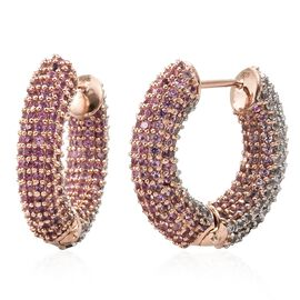 Designer Inspired -AAA Pink Sapphire (Rnd), Natural Cambodian Zircon Hoop Earrings (with Clasp) in Rose Gold Overlay Sterling Silver 9.000 Ct. Silver wt.10.84 Gms. Number of Gemstone 600.
