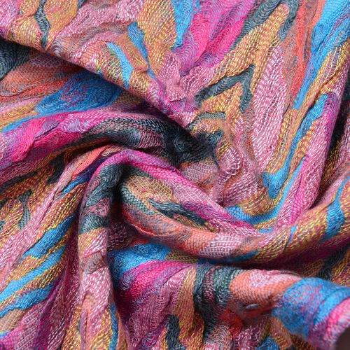 Pink, Blue and Multi Colour Zigzag Pattern Scarf with Tassels (Size 170X30 Cm)