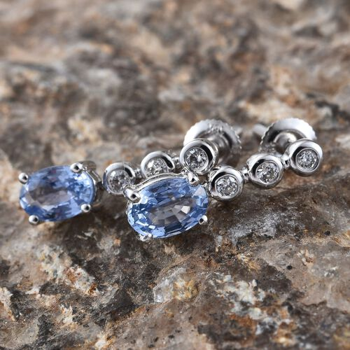 ILIANA 18K White Gold AAA Ceylon Blue Sapphire (Ovl), Diamond (SI/G-H) Earrings (with Screw Back) 1.250 Ct.