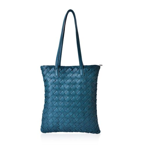 Stella Teal Green Colour Weave Pattern Tote Bag (Size 34x32 Cm)
