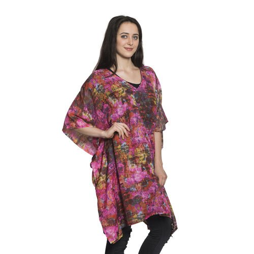 Rainbow Colour Splash Floral Pattern V-Neck Kaftan (Free Size)