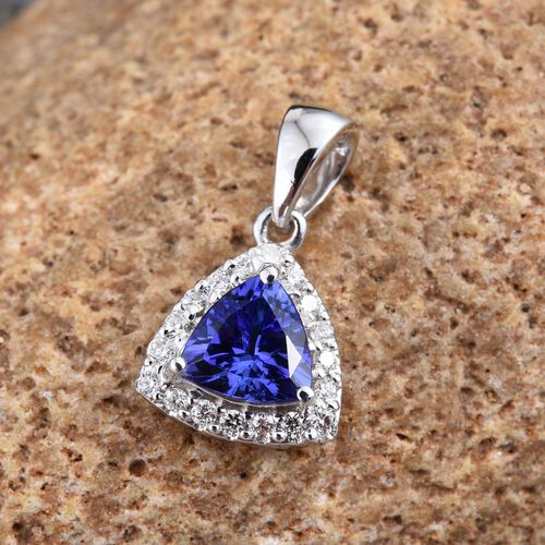 ILIANA 18K White Gold AAA Tanzanite (Trl 1.05 Ct), Diamond (SI G-H) Pendant 1.150 Ct.