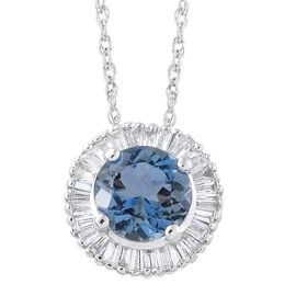 ILIANA 18K W Gold AAA Santa Maria Aquamarine (Rnd 0.75 Ct), Diamond (SI/G-H) Pendant with Chain 1.000 Ct.