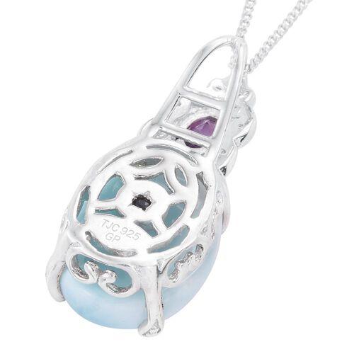 GP Larimar (Ovl 10.38), Amethyst, Natural Cambodian Zirconand Kanchanaburi Blue Sapphire Pendant wtih Chain in Platinum Overlay Sterling Silver 11.000 Ct.